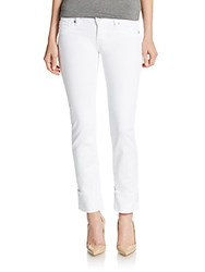 Hudson Ginny Rolled Crop Jeans White