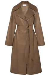The Row Efo Belted Leather Trench Coat Beige