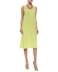Eileen Fisher Hemp Twist Henley Tank Dress Honeydew