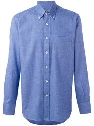 Canali Micro Houndstooth Shirt Blue