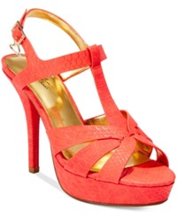 Thalia Sodi Raquell T Strap Platform Dress Sandals Only At Macy's Women's Shoes Rich Coral