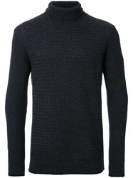 Factotum Waffle Knit Roll Neck Jumper Black