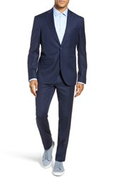 Ted Baker London Rove Extra Trim Fit Solid Wool Suit Blue Micro