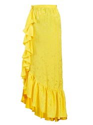 Attico Asymmetric Jacquard Ruffle Skirt Yellow