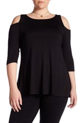 Chelsea And Theodore Cold Shoulder Swing Shirt Plus Size Black