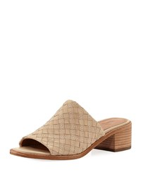 Frye Cindy Woven Leather Mule Sandals Cream