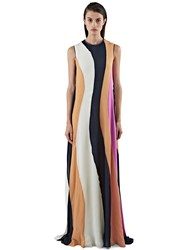 Roksanda Ilincic Pemba Long Seersucker Striped Dress Black