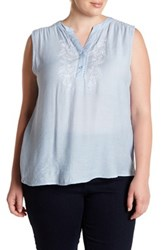 Blu Pepper Embroidered Sleeveless Blouse Plus Size Blue