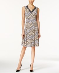 Jm Collection Embellished Printed Fit And Flare Dress Only At Macy's