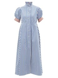 Thierry Colson Venetia Ruffled Striped Cotton Poplin Midi Dress Blue Stripe