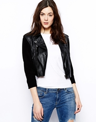 Barney's Originals Barneys Originals Olivia Jacket With Suede Sleeves Black