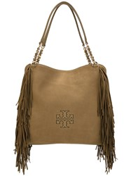 Tory Burch Fringed Detail Tote Women Leather One Size Brown