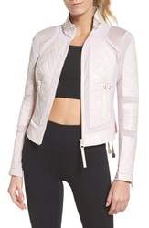 Blanc Noir Leather And Mesh Moto Jacket Pink