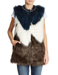 Guess Faux Fur Vest White Multi