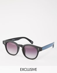 Jeepers Peepers Round Sunglasses With Contrast Stripe Arms Exclusive To Asos Black