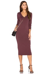 Michael Stars 3 4 Sleeve V Neck Midi Dress Burgundy