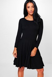 Boohoo Long Sleeve Skater Dress Black