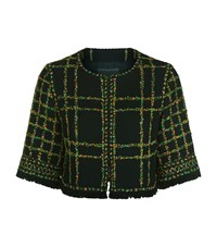 Andrew Gn Floral Tweed Cropped Jacket Female Black