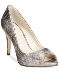 Styleandco. Style And Co. Women's Brandii Peep Toe Pumps Only At Macy's Women's Shoes Pewter Snake