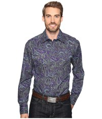 Roper 0562 Crushed Paisley Snap Purple Men's Clothing