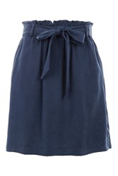 Topshop Petite Paperbag Tie Mini Skirt Navy Blue