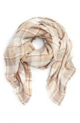David And Young Women's Plaid Square Scarf Taupe