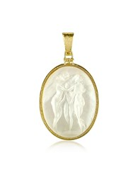 Tagliamonte Three Graces 18K Gold Mother Of Pearl Cameo Pendant White