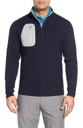 Bobby Jones Men's 'Elements' Merino Wool Quarter Zip Pullover Summer Navy