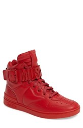 Moschino Men's High Top Sneaker Red Leather