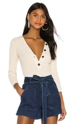 Enza Costa Military Cotton Rib Long Sleeve Henley Top In Cream. Natural