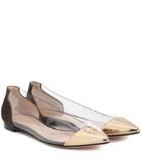 Gianvito Rossi Exclusive To Mytheresa.Com Plexi Leather And Suede Ballerinas Gold