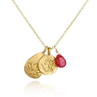 Satya Jewelry Lotus Om Ruby Gold Charm Necklace
