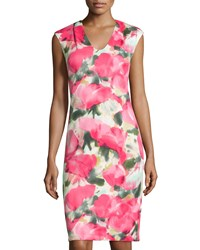 Donna Ricco Cap Sleeve Floral Print Sheath Dress Pink