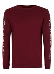 Topman Red Burgundy No Matter Print Long Sleeve T Shirt