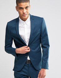 Selected Homme Blazer In Super Skinny Fit With Stretch Blue Teal