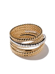 David Yurman 18Kt Yellow Gold Crossover Diamond Wide Ring Metallic