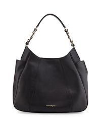 Elle Gancini Chain Leather Hobo Bag Nero Salvatore Ferragamo