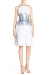 Women's London Times Embroidered Woven Fit And Flare Dress