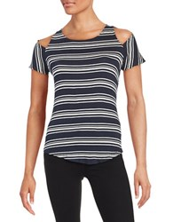 Red Haute Stripe Cold Shoulder Top Navy