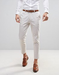 Asos Wedding Skinny Cropped Smart Trousers Cream