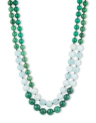 Lonna And Lilly Two Row Agate And Amazonite Bead Necklace Green