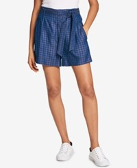 Tommy Hilfiger Belted Soft Shorts Created For Macy's Plaid Blue