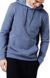 Topman Men's Classic Fit Pullover Hoodie Mid Blue