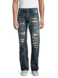 Cult Of Individuality Rebel Straight Fit Distressed Jeans Blue Print