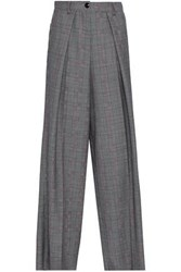 Emporio Armani Woman Prince Of Wales Checked Wool And Mohair Blend Wide Leg Pants Midnight Blue