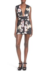 Women's Missguided Floral Plunge Sleeveless Romper