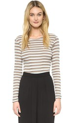 Edith A. Miller Crew Neck Long Sleeve Tee Anniversary Stripe Multi