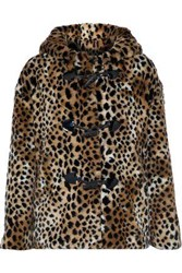 Ainea Woman Hooded Leopard Print Faux Fur Coat Animal Print