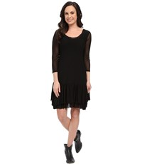 Roper 9922 Solid Stretch Mesh Flounced Dress Black Women's Dress