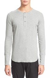 Wings Horns 'Base' Long Sleeve Henley Heather Grey